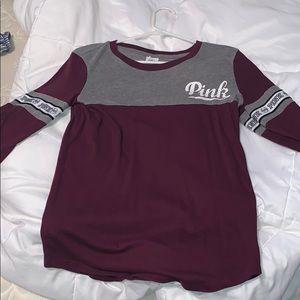 Pink 3/4 sleeve jersey tee